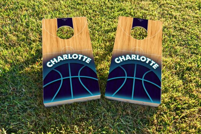 Basketball Charlotte Themed Custom Cornhole Board Design