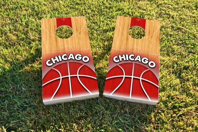 Basketball Chicago Themed Custom Cornhole Board Design