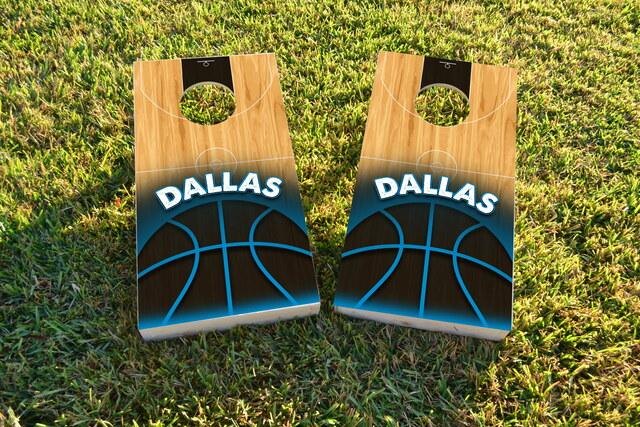Basketball Dallas Themed Custom Cornhole Board Design