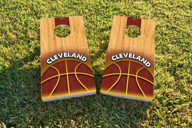 Basketball Cleveland Themed Custom Cornhole Board Design