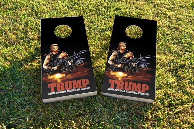 President Trump Rambo Themed Custom Cornhole Board Design