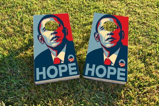 Obama Hope Themed Custom Cornhole Board Design