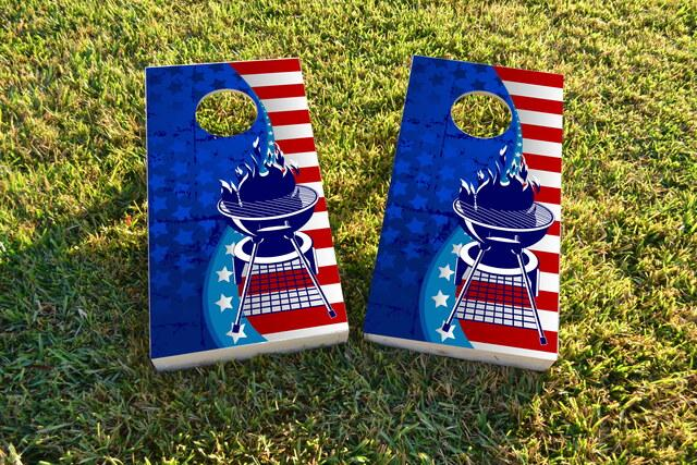 Red White and BBQ Themed Custom Cornhole Board Design