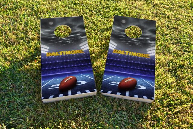 Baltimore Football Themed Custom Cornhole Board Design