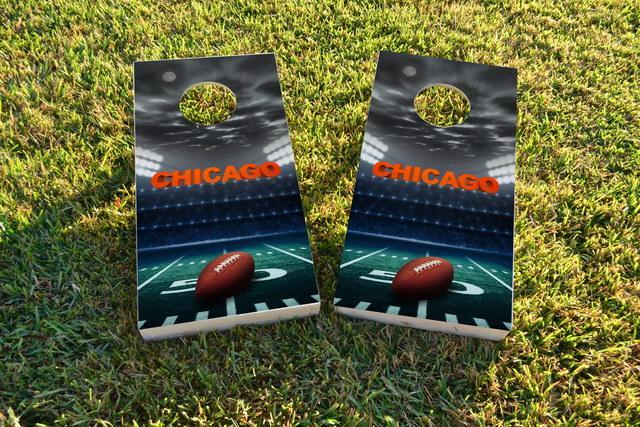 Chicago Football Themed Custom Cornhole Board Design