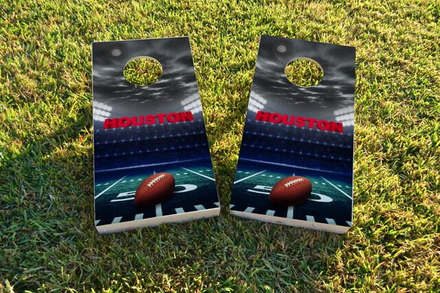 Houston Football Themed Custom Cornhole Board Design