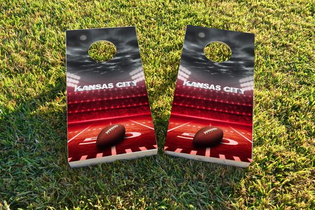 Kansas City Football Themed Custom Cornhole Board Design
