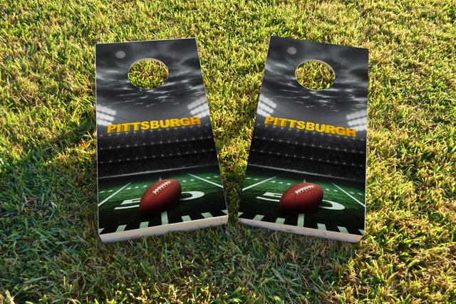 Pittsburgh Football Themed Custom Cornhole Board Design