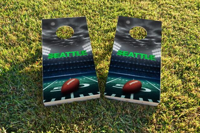 Seattle Football Themed Custom Cornhole Board Design
