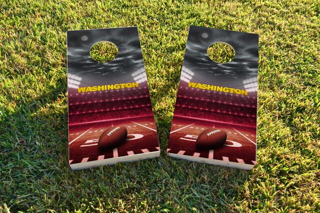 Washington Football Themed Custom Cornhole Board Design