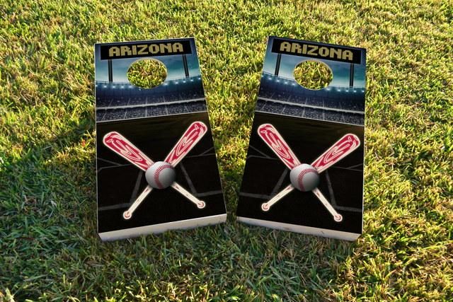 Arizona Baseball Themed Custom Cornhole Board Design