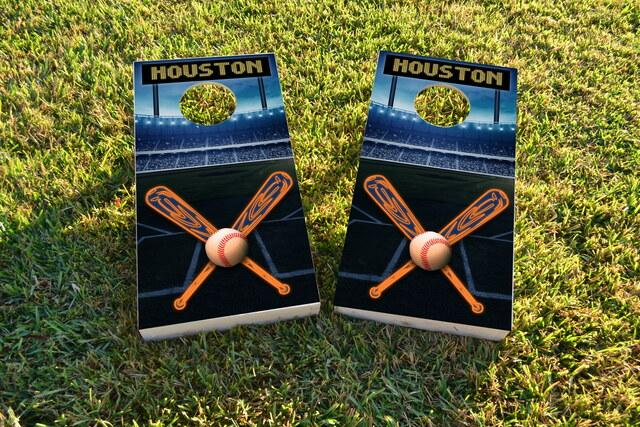 Houston Baseball Themed Custom Cornhole Board Design