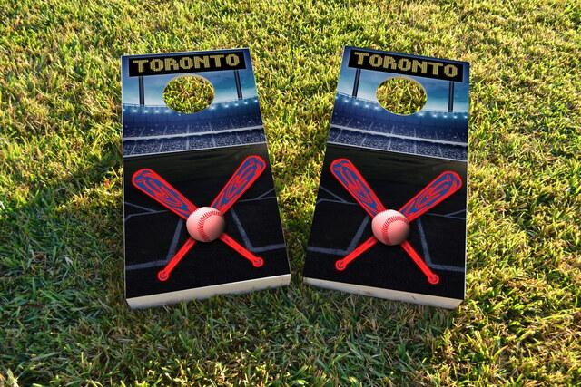Toronto Baseball Themed Custom Cornhole Board Design