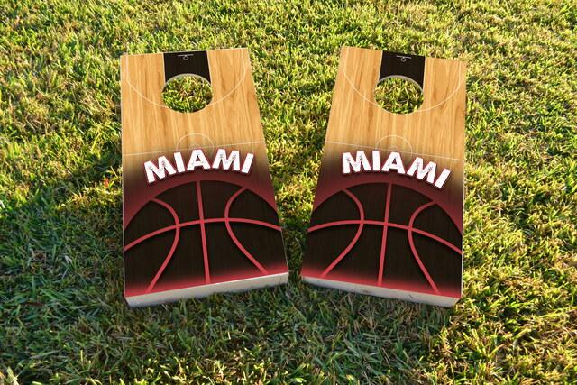 Basketball Miami Themed Custom Cornhole Board Design