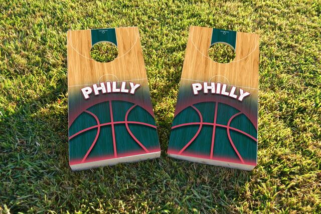 Basketball Philadelphia Themed Custom Cornhole Board Design
