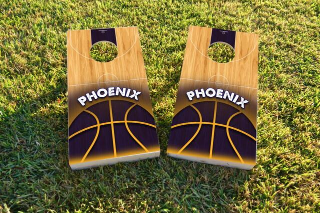 Basketball Phoenix Themed Custom Cornhole Board Design