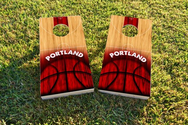 Basketball Portland Themed Custom Cornhole Board Design