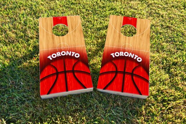 Basketball Toronto Themed Custom Cornhole Board Design