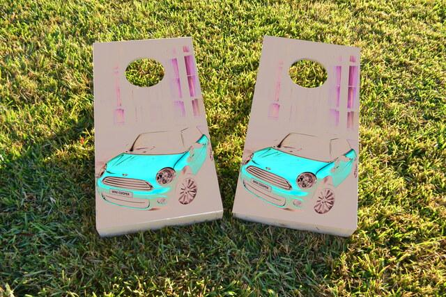 Red Mini Cooper Themed Custom Cornhole Board Design
