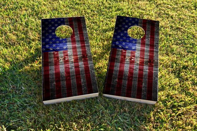 American Flag Dark Wood Themed Custom Cornhole Board Design
