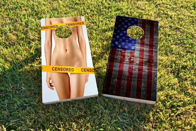 Censored Nude Woman Themed Custom Cornhole Board Design