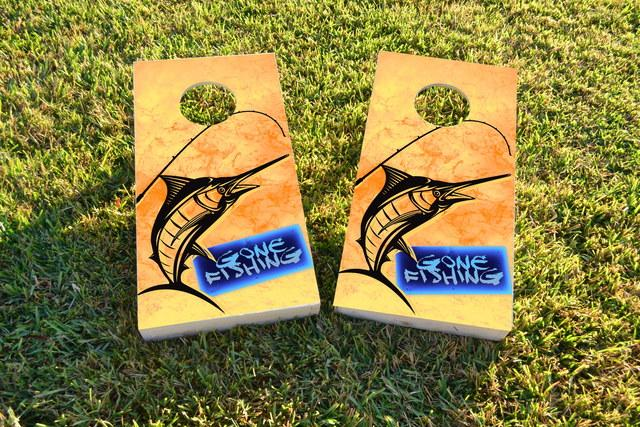 Gone Deep Sea Fishing Themed Custom Cornhole Board Design