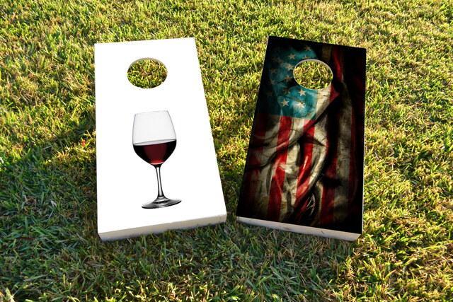 His Hers Wine Themed Custom Cornhole Board Design