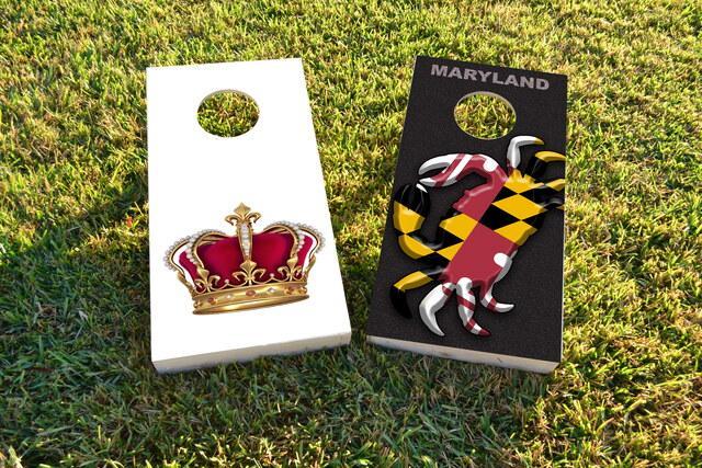 King Queen Crown Themed Custom Cornhole Board Design
