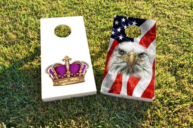 King Queen Crown 2 Themed Custom Cornhole Board Design