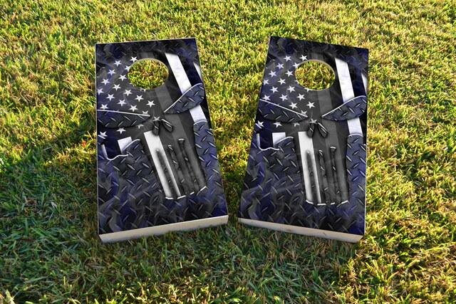 Punisher Grey Flag Themed Custom Cornhole Board Design