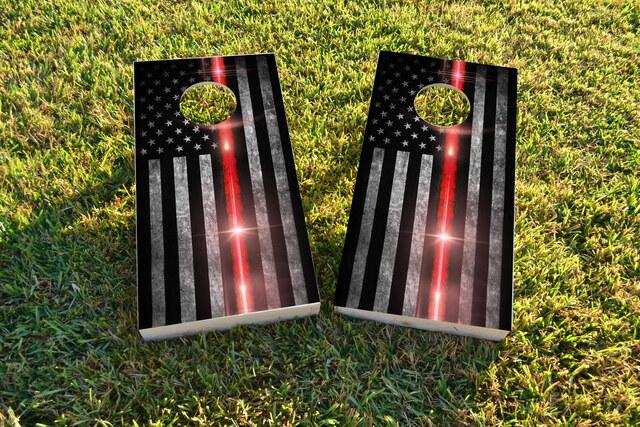 Red Line Firefighter Glow Themed Custom Cornhole Board Design