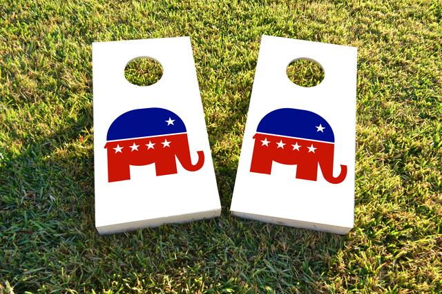 Republican Elephant Themed Custom Cornhole Board Design