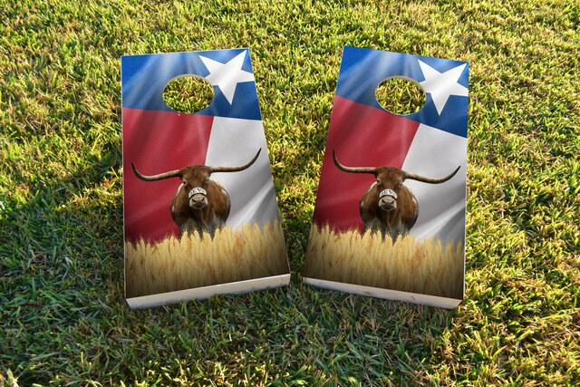 Texas Longhorn with Flag Themed Custom Cornhole Board Design
