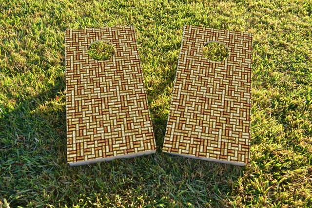 Wine Cork Themed Custom Cornhole Board Design
