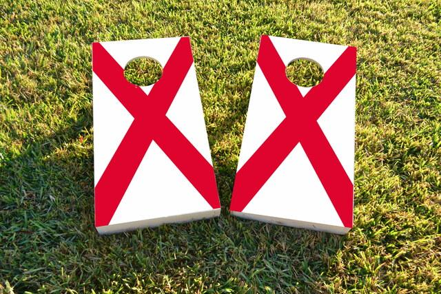 Alabama State Flag Themed Custom Cornhole Board Design
