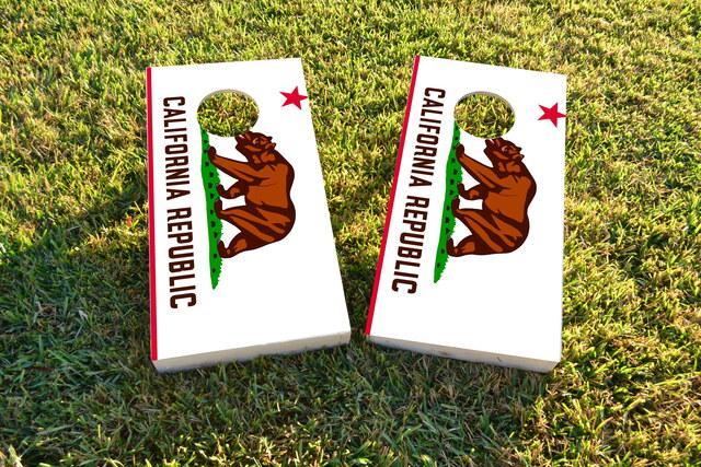 California State Flag Themed Custom Cornhole Board Design