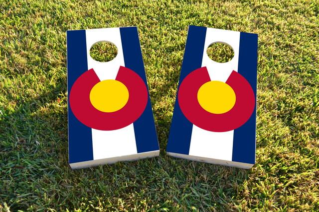 Colorado State Flag Themed Custom Cornhole Board Design