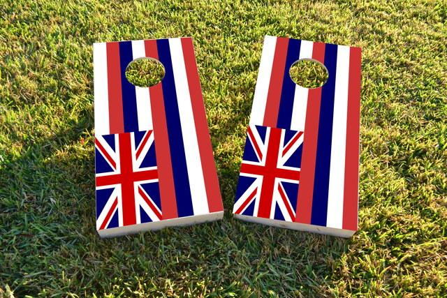 Hawaii State Flag Themed Custom Cornhole Board Design