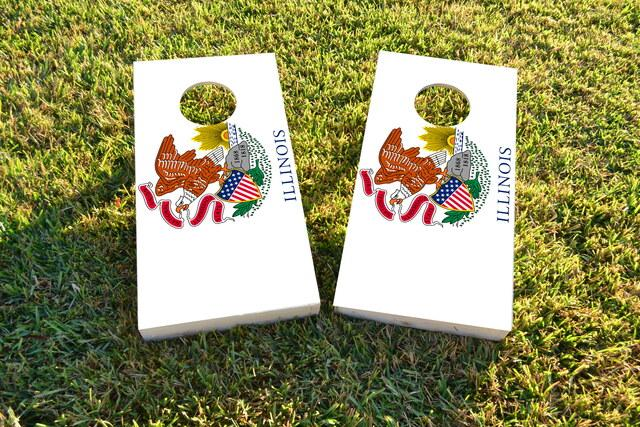 Illinois State Flag Themed Custom Cornhole Board Design