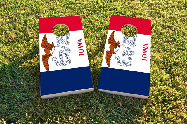 Iowa State Flag Themed Custom Cornhole Board Design