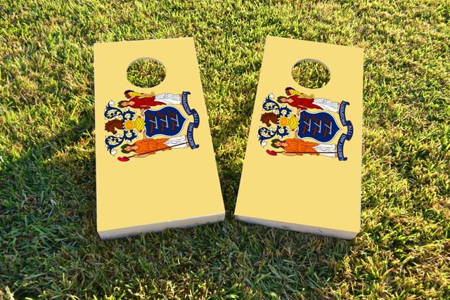 New Jersey State Flag Themed Custom Cornhole Board Design