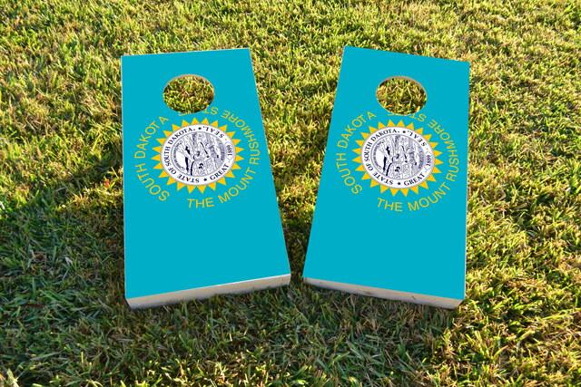 South Dakota State Flag Themed Custom Cornhole Board Design