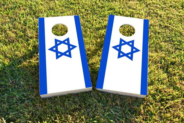 Israel National Flag Themed Custom Cornhole Board Design