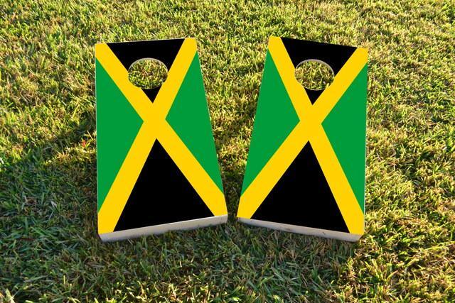 Jamaica National Flag Themed Custom Cornhole Board Design