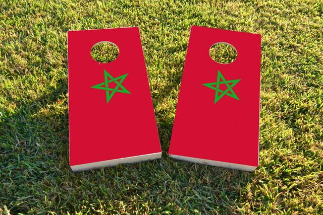 Morocco National Flag Themed Custom Cornhole Board Design