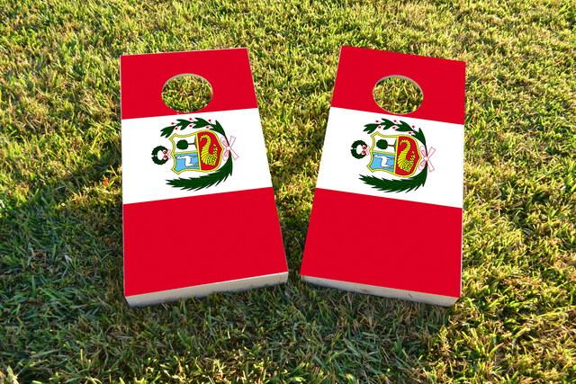 Peru National Flag Themed Custom Cornhole Board Design