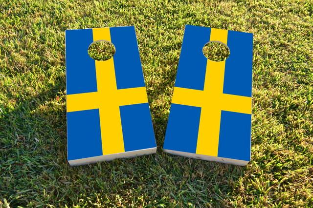 Sweden National Flag Themed Custom Cornhole Board Design