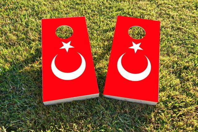Turkey National Flag Themed Custom Cornhole Board Design