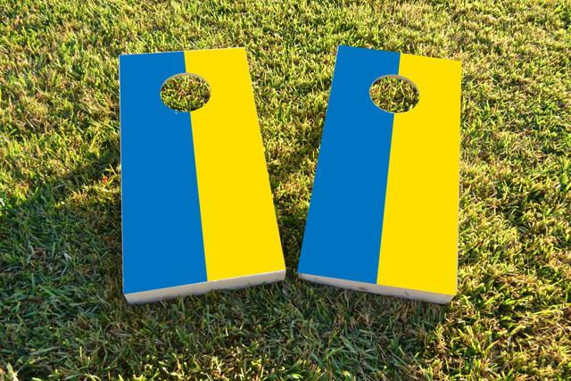 Ukraine National Flag Themed Custom Cornhole Board Design