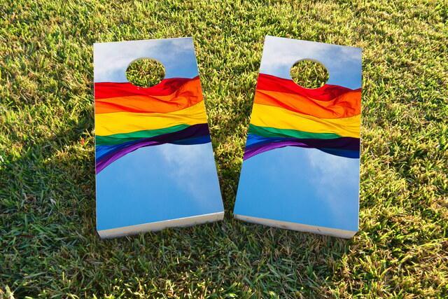 Gay Pride Rainbow Flag in the Sky Themed Custom Cornhole Board Design